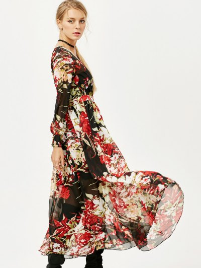Floral See Thru Surplice Maxi Dress - FLORAL S Mobile