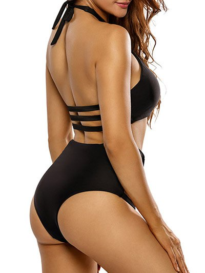 Crosscriss Cut Out High Waisted Bikini Set - BLACK XL Mobile