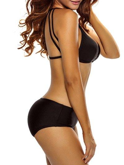 Casual Strappy Bikini Set - BLACK M Mobile