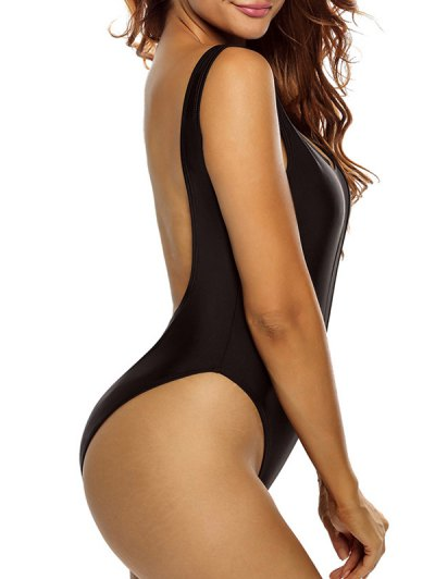 Mesh Insert Plunge One Piece Swimsuit - BLACK M Mobile