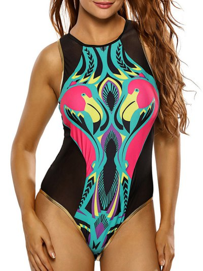 High Neck Flamingo Print Mesh Swimsuit - BLACK L Mobile