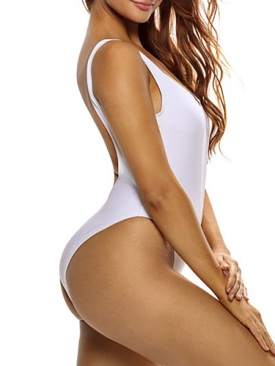Mesh Insert Plunge One Piece Swimsuit - WHITE L Mobile