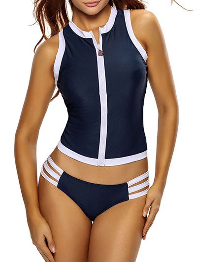Color Block Full Zip Sports Tankini Set - DEEP BLUE S Mobile