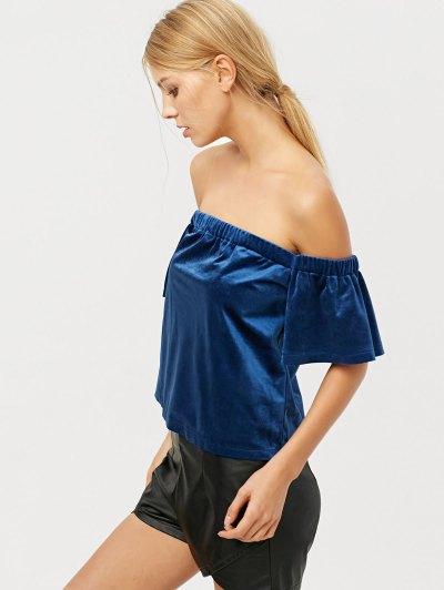 Off The Shoulder Velvet Loose T-Shirt - BLUE L Mobile
