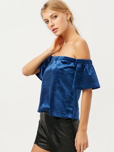 Off The Shoulder Velvet Loose T-Shirt - BLUE M Mobile