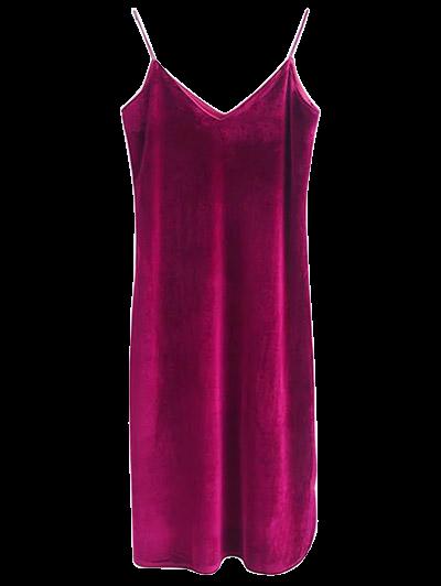 Cami Velvet Midi Dress - WINE RED S Mobile