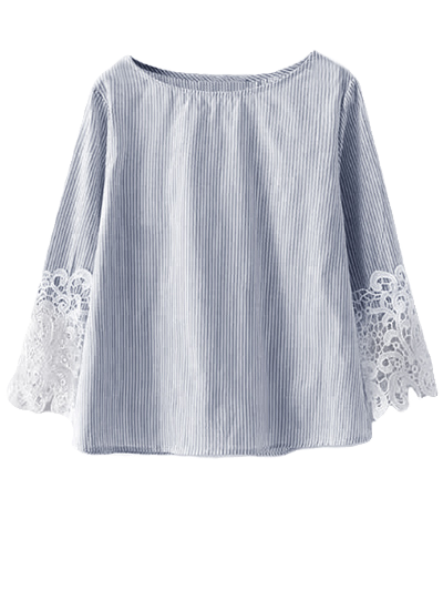 Encaje Insertar Camiseta A Rayas - Teal M