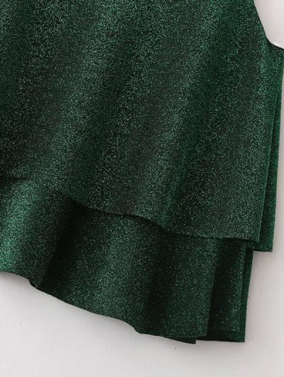 Cropped Layered Strappy Glitter Tank Top - BLACKISH GREEN M Mobile