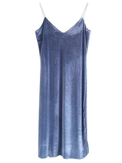 Cami Velvet Midi Dress - BLUE GRAY M Mobile
