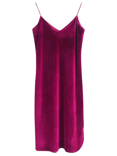 Cami Velvet Midi Dress - WINE RED S Mobile