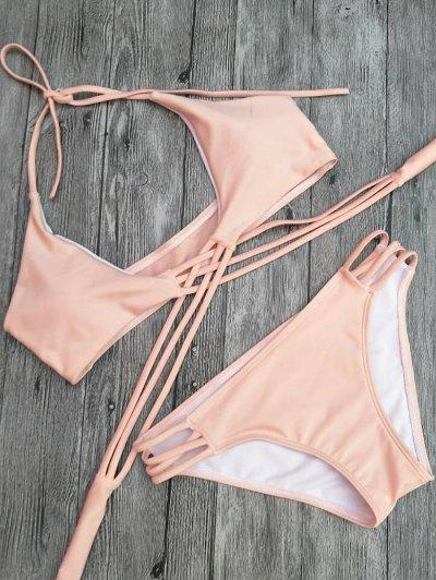 Strappy Cutout Lace-Up Bikini Set - PINK L Mobile