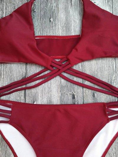 Strappy Cutout Lace-Up Bikini Set - RED M Mobile