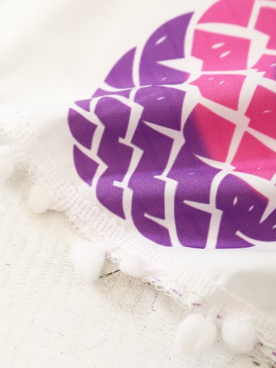 Pineapple Print Tassel Beach Throw - WHITE ONE SIZE Mobile