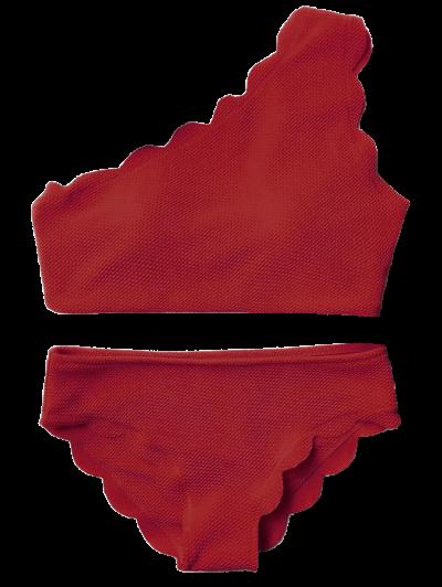 Wireless Scalloped One Shoulder Bikini - BURGUNDY S Mobile