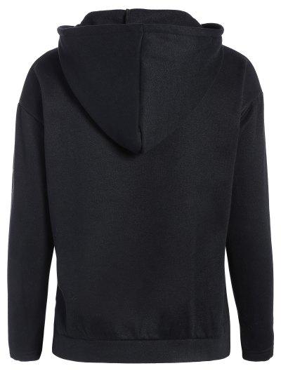 Zipped Neckline Hoodie - BLACK L Mobile