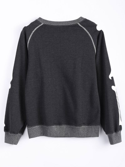 Loose Skeleton Sweatshirt - DEEP GRAY 2XL Mobile