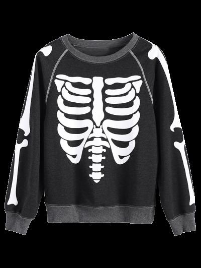 Loose Skeleton Sweatshirt - DEEP GRAY XL Mobile
