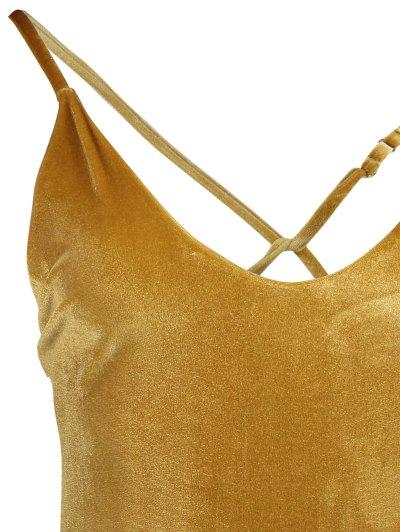 Reversible Cross Back Pleuche Swimwear - GOLD BROWN M Mobile