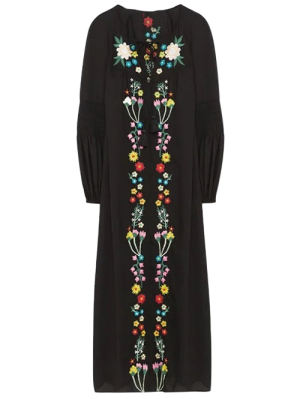 Floral Embroidered Lace Up Long Sleeve Dress - Black