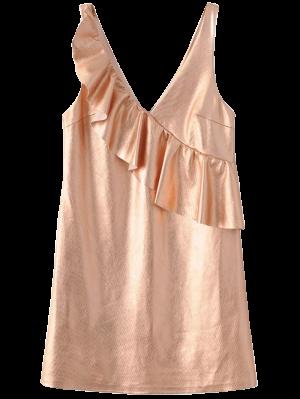 V Neck Ruffles Mini Tank Dress - Rose Gold