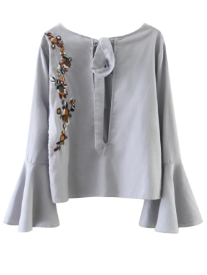 Cut Out Flare Sleeve Floral Tied Blouse - Gray
