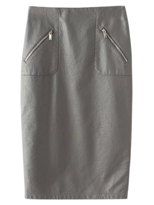 PU Leather Pencil Skirt - Gray