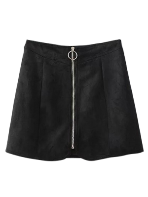 Suede Zippered Mini Skirt - Black