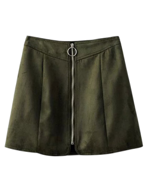 Suede Zippered Mini Skirt - Blackish Green
