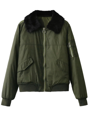 Fur Collar Padded Cargo Bomber Jacket - Army Green