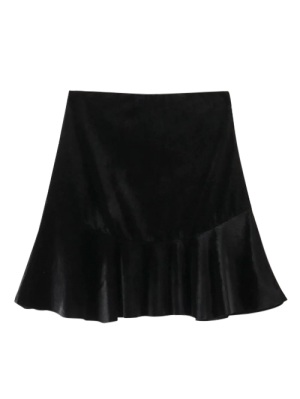 Flounced Velvet Mini Skirt - Black