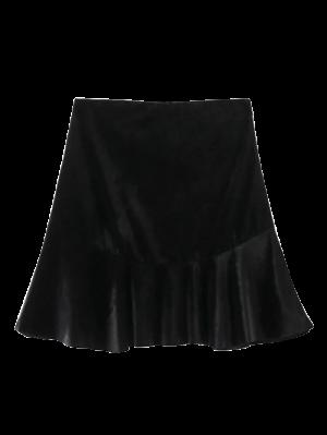Flounced Velvet Mini Skirt - Black