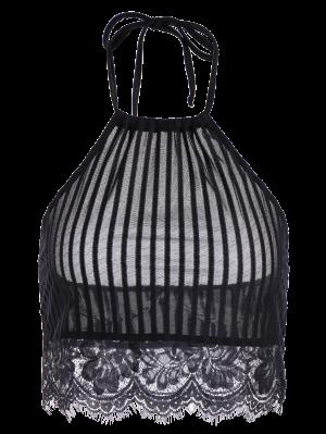 Scalloped Lace Panel Bra - Black