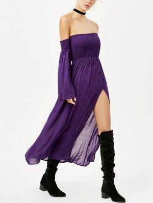 Off Shoulder High Slit Shirred Maxi Dress - Purple