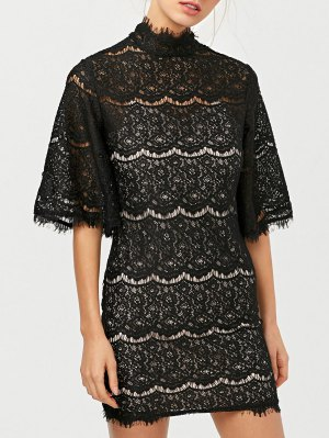 Flare Sleeve Hollow Out Lace Mini Dress - Black