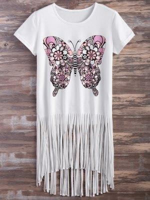 Butterfly Print Fringe T-Shirt - White