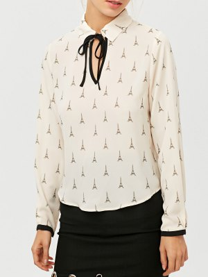 Eiffel Tower Print High Low Blouse - Off-white