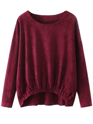 Suede Elastic Hem T-Shirt - Burgundy