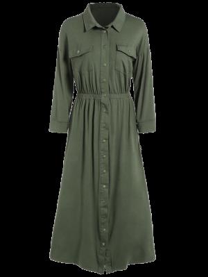 Camisa De Vestir Con Bolsillos Midi - Verde Del Ejército