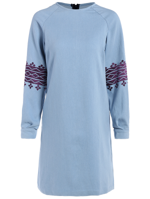 Embroidered Sleeve Denim Tunic Dress