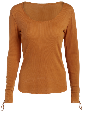 Lace Up Sleeve Scoop Neck Tee - Brown