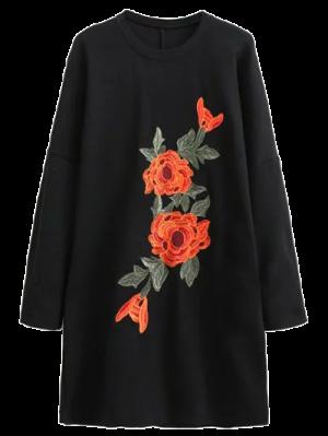 Floral Embroidered Long Sleeve Black Shift Dress - Black