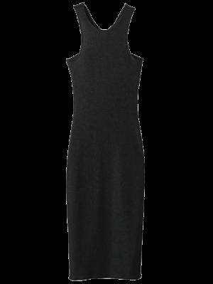 Twist Low Back Pencil Tank Dress - Black