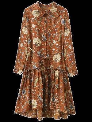 Pleated Collar Printed Drop Waist Shirt Dress - Brown