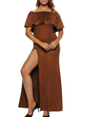 Off Shoulder Ruffles High Slit Maxi Dress - Brown