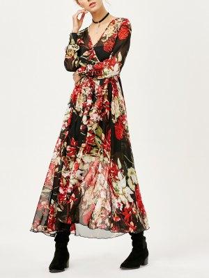 Floral See Thru Surplice Maxi Dress - Floral