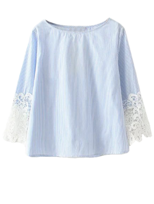 Lace Insert Striped Top Boat Neck Blouse - Blue