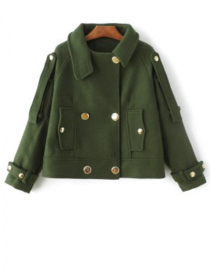 Cropped Wool Blend Bridge Coat - Army Green