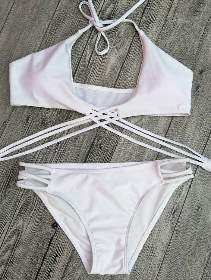 Strappy Lace-Up Cutout Bikini Set