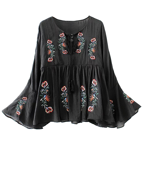 Flare Sleeve Lace Up Embroidered TopClothes<br><br><br>Size: S<br>Color: BLACK