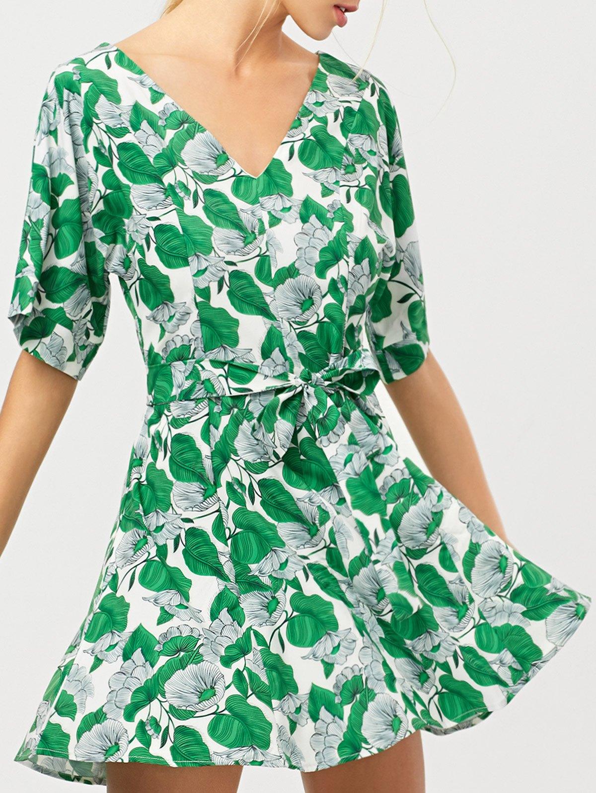 Leaves Print Wrap A-Line Dress - GREEN XS
